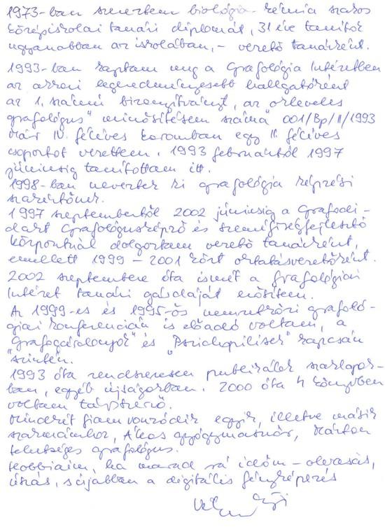 önéletrajz kézzel írott Vékony Györgyi önéletrajz kézzel írott